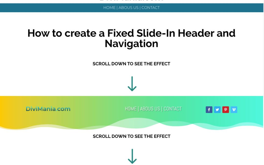 How to create a Fixed Slide-In Header and Navigation